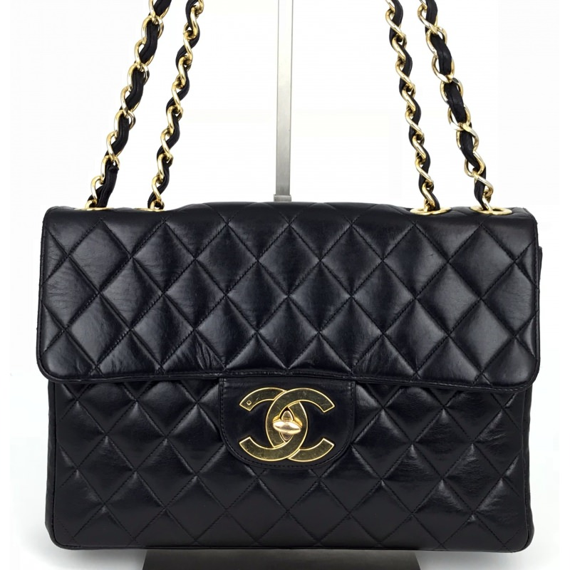 01daacd85d95c1 Chanel Vintage Classic Single Flap Bag Quilted Lambskin Jumbo