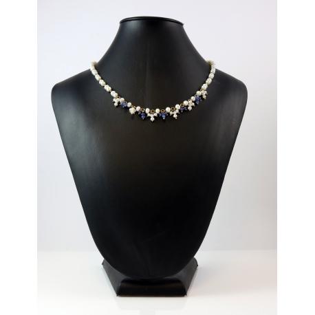 collar perlas y piedras azules