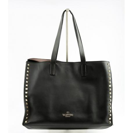 """Valentino """"Rockstud Shopper Black Leather Tote"""""""