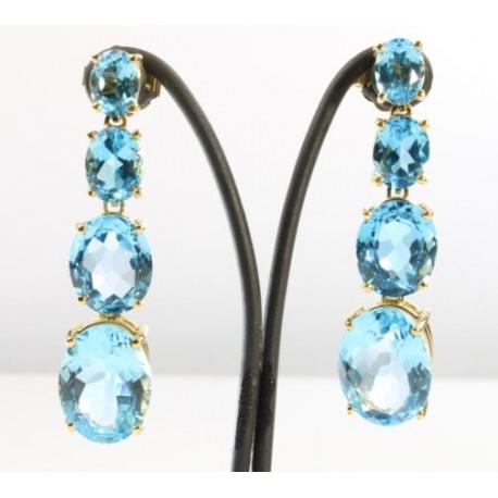 Aquamarines long earrings