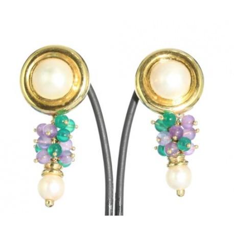 Long Earrings in Quartz and Pearl