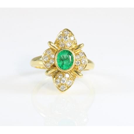 Sortija flor esmeralda y brillantes oro