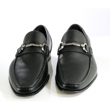d36e40b4fe3 Black leather loafers with silver tone buckle Men s shoes Dolce Gabbana