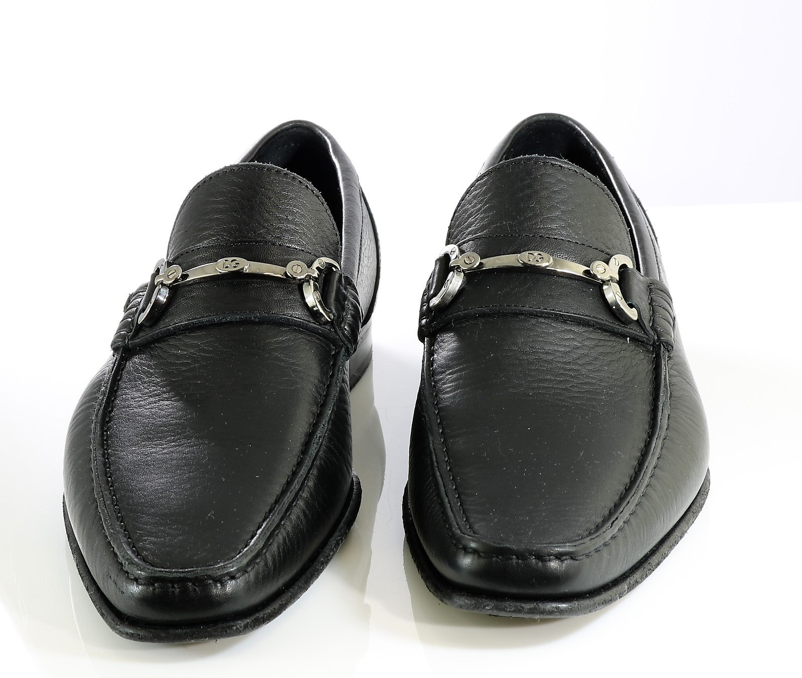 b45690a31e5 Black leather loafers with silver tone buckle Men s shoes Dolce Gabbana