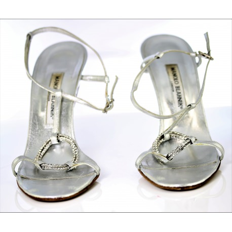ce29f6773b6 Silver leather Manolo Blahnik sandals high heels and anckle strap ...