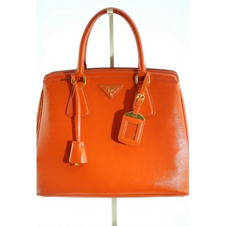 Prada Arancio Saffiano Vernice Handbag