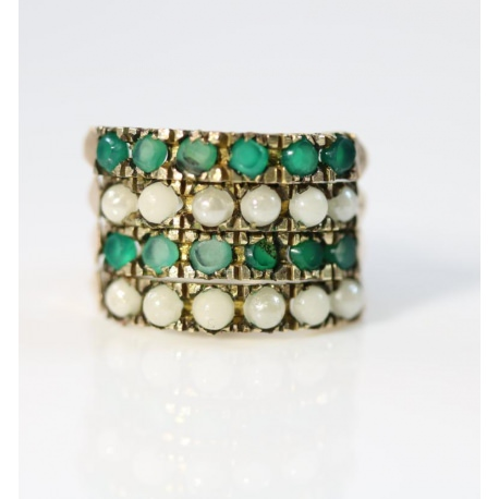Green Chalcedony Quartz and Pearl Ring