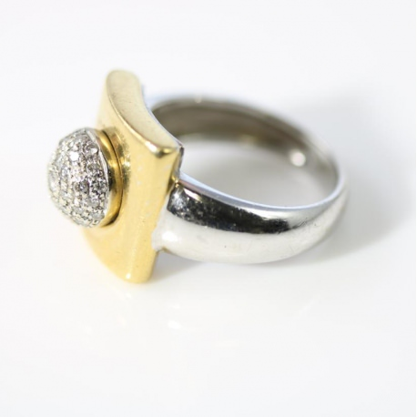 Pavè Ring with diamonds 2 Gold tones