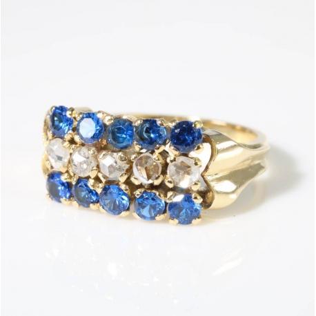 Sortija piedras azules y diamantes
