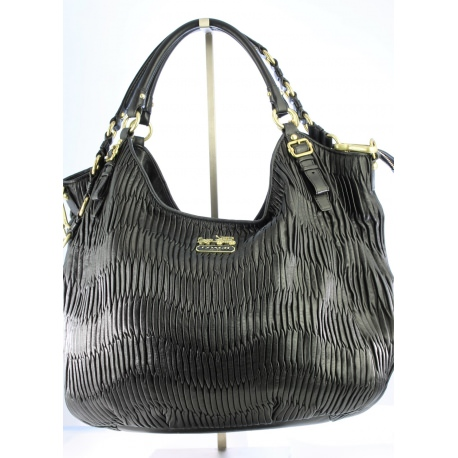 Coach Madison 15931 Black Leather - Gathered Shoulder Bag