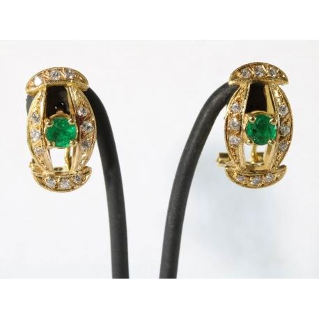 Pendientes esmeralda y brillantes