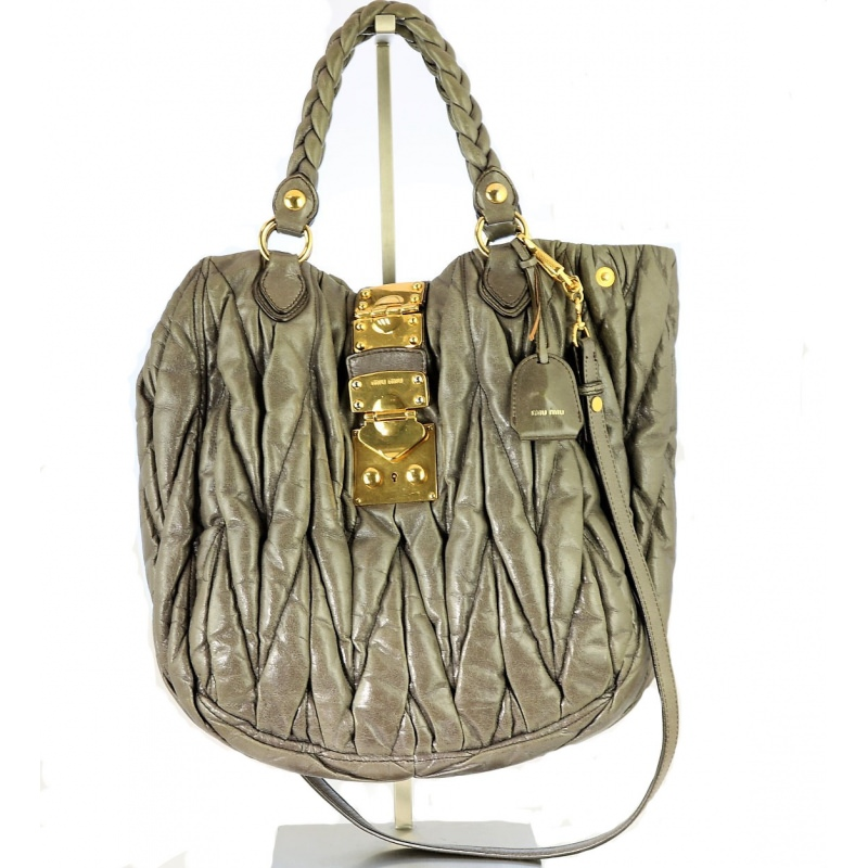 c32214c15036 Miu Miu Silver Metallic Matelasse Nappa Leather Large Tote Bag with ...