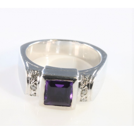 Amethyst and diamond brilliant cut ring