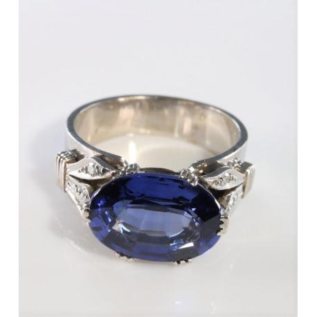 Sortija piedra azul y brillantes
