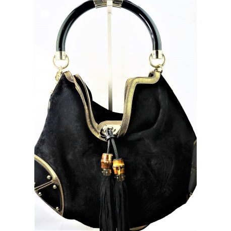 c36e2dbaf0b This Beautiful Babouska Indy Black Suede Upper Handbag From Gucci
