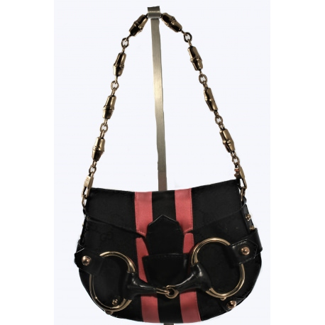 Bolso de Gucci Monogram Horsebit Web Flap Bag Black Pink