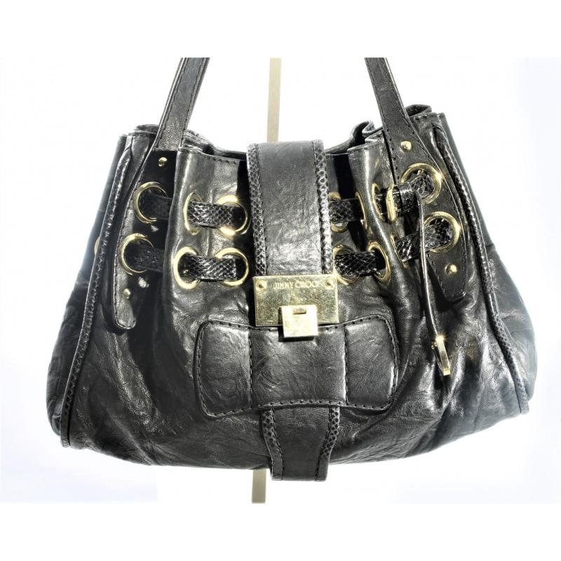 7e3d86130d9 Jimmy Choo bag in black leather and black snake detail