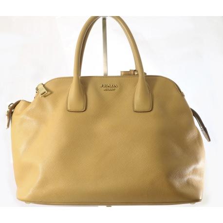 Prada Saffiano Cuir Triple-Zip Dome Tote Bag