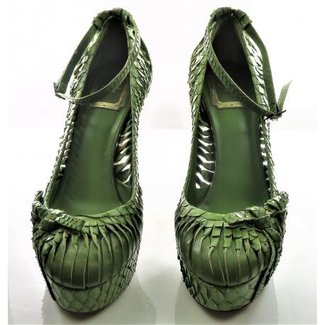 Christian Dior Leather Snakeskin-Trimmed Pumps