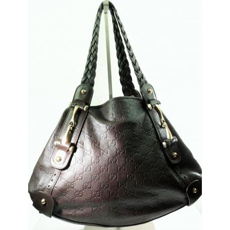 GUCCI Guccissima Medium Pelham Shoulder Bag Marrón