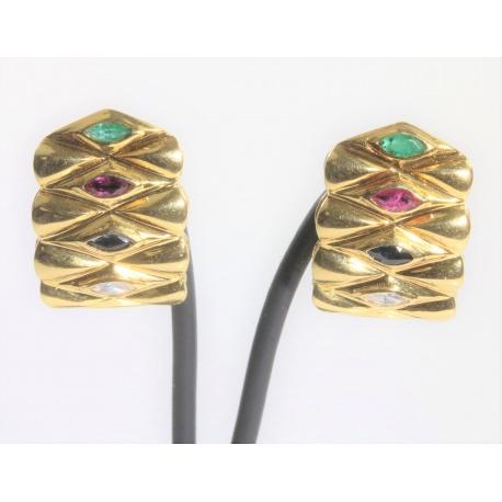 Pendientes piedras de color Oro