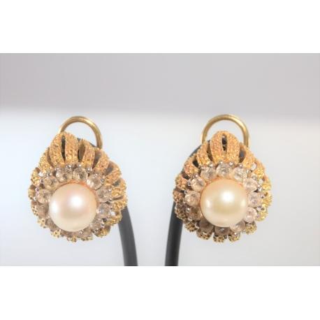 Pendientes perla ycirconitas