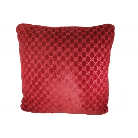 Gucci square cushions in printed red silk and velvet