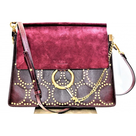 CHLOE 'Faye' Studded Calfskin Shoulder Bag