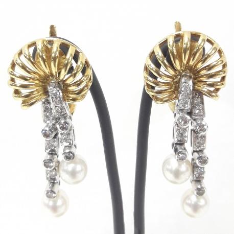 Pendientes largos perlas y brillantes