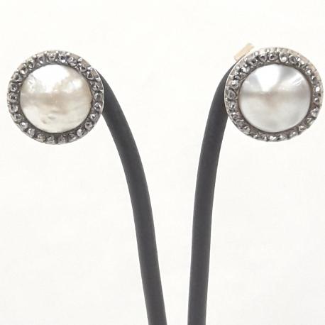 Pendientes perla y diamantes