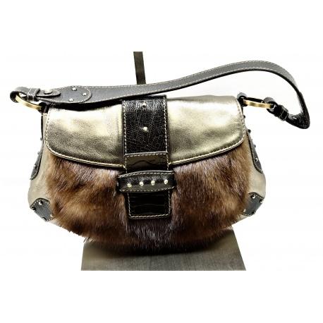 Valentino Mink and metallic leather handbag
