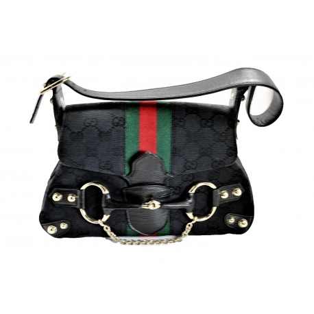 Bolso Gucci en lona negra GG Horsebit