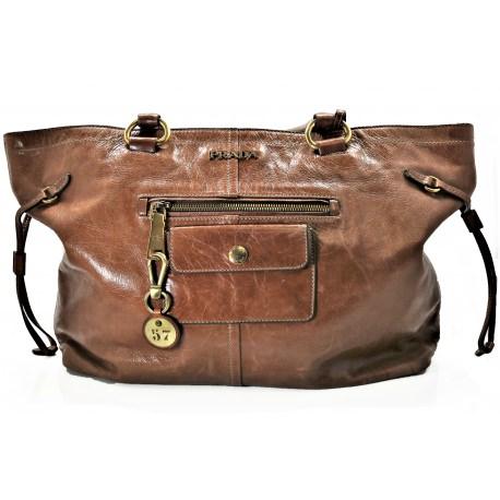 Prada Palissandro Vitello Shine Leather Handbag