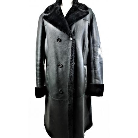 Abrigo Hugo Boss cuero y piel negro