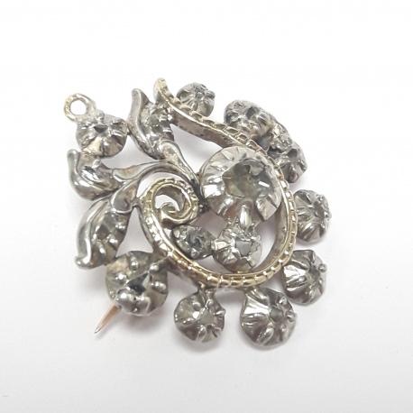 Broche diamantes oro y plata