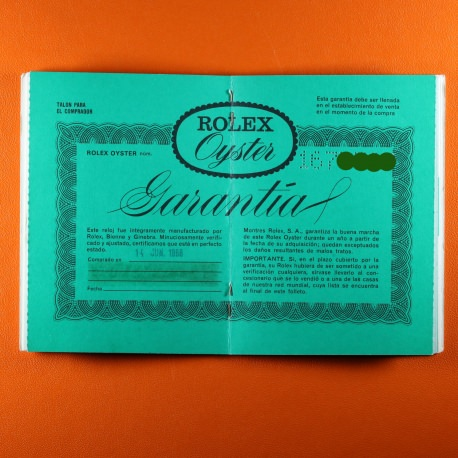 Rolex Warranty Papers Blank Reference Dated 1968