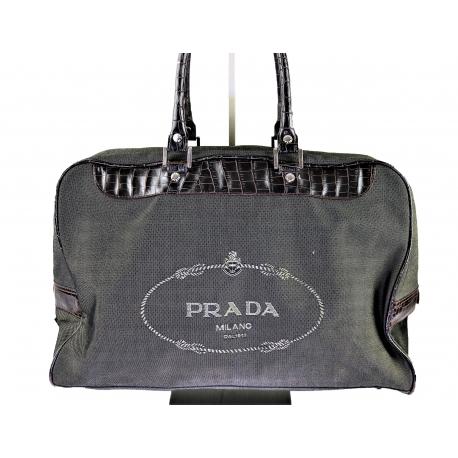 Prada Vintage Travelling Canvas and Crocodile Bag