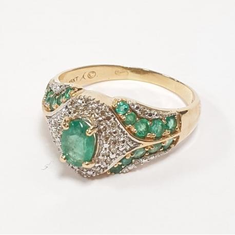 Sortija con esmeraldas y brillantes