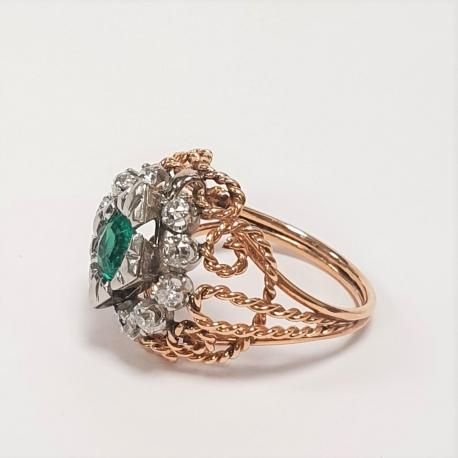 Sortija esmeralda y brillantes 2 tonos oro