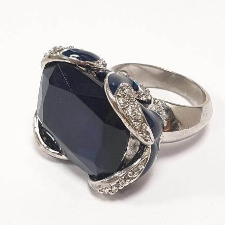 Sortija piedra azul y circonitas . Bisuteria