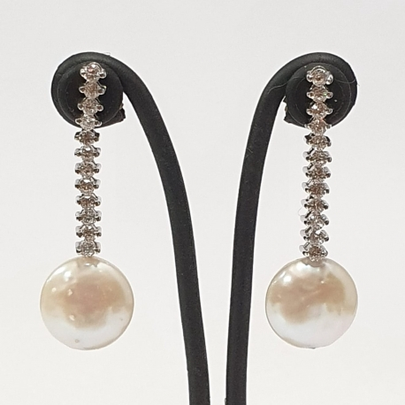 Pendientes largos circonitas y perla
