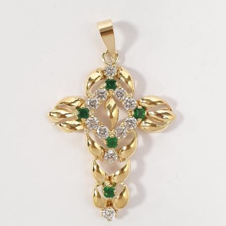 Cruz con circonitas y esmeraldas