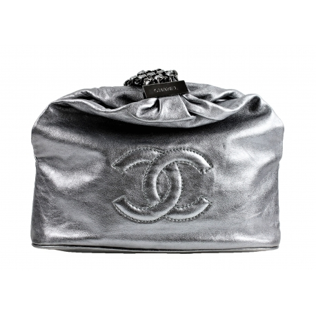 Chanel Silver plated leather handbag