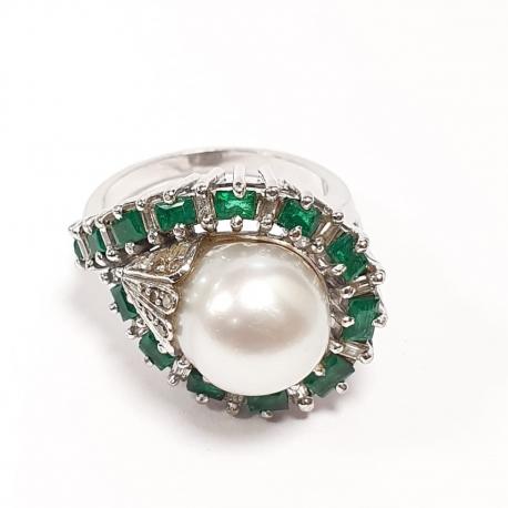 Sortija perla y esmeralda