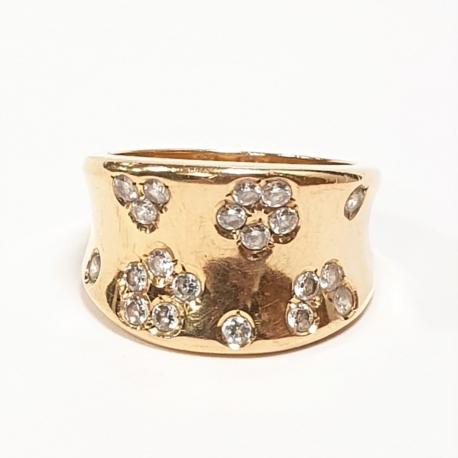 Sortija flores con brillantes oro