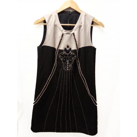 Vestido Blanco roto y negro
