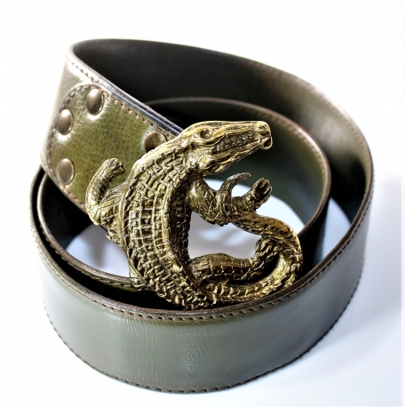 Cinturón cuero verde hebilla cocodrilo