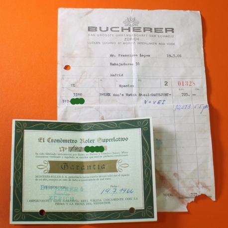 Rolex Datejust Garantia Bucherer 1966