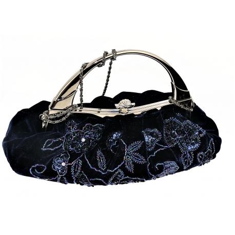 Navy Velvet Bag