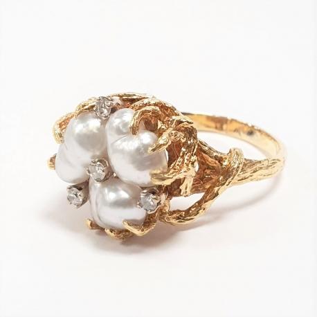 Sortija barroca perlas y brillantes